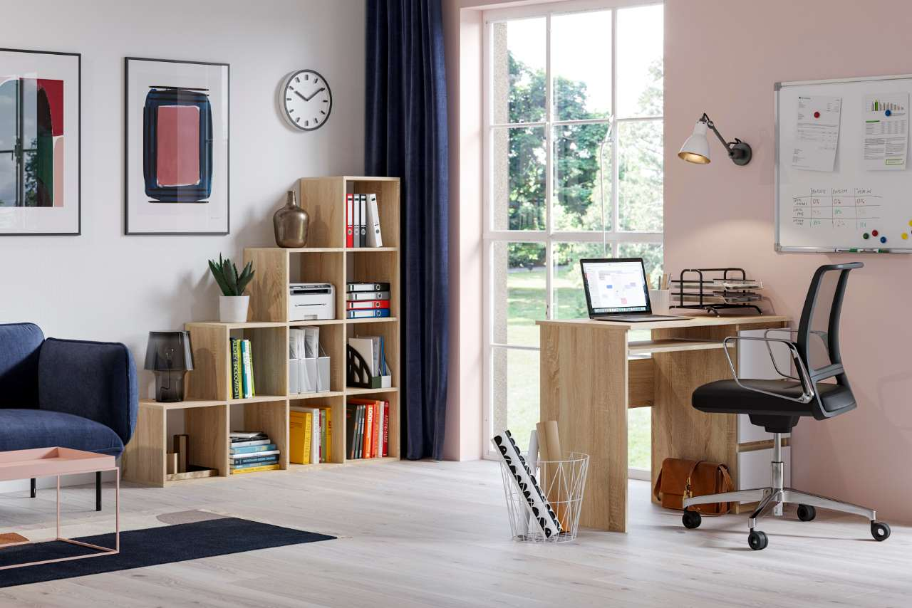 working office homework school writing desk in white oak colour and white matt drawers' fronts