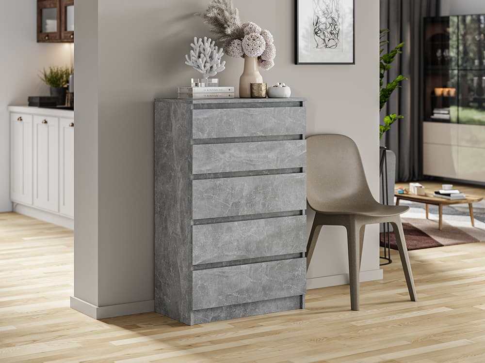 gray industrial urban office bedroom commode with marble like effect drawers