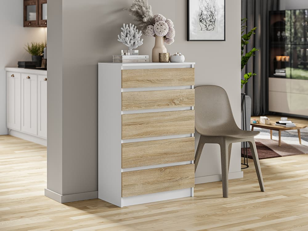 white matt commode with natural fronts like drawers