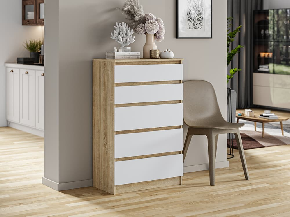 natural wood like commode with white front drawers