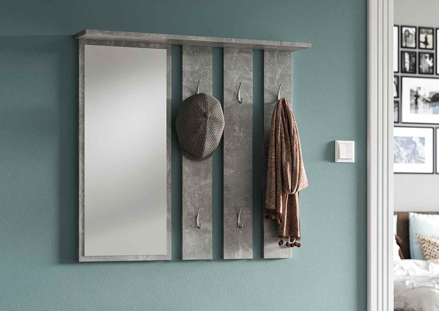 Hallway Wall Hanger with Mirror April Gray