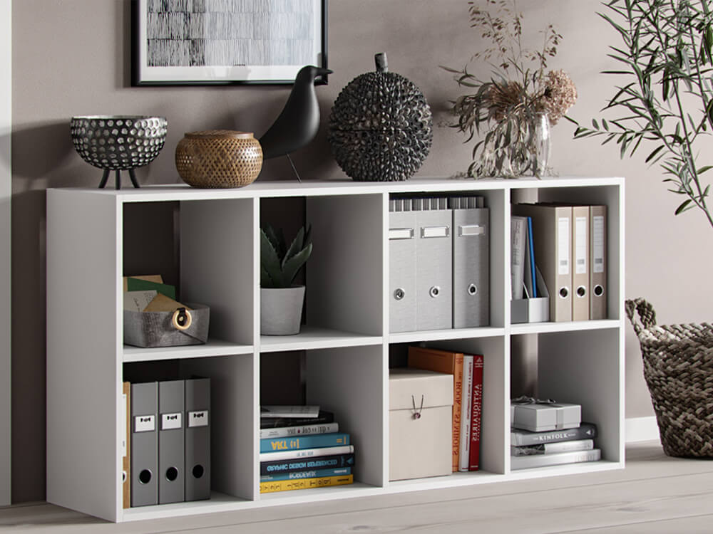 Bookshelf Homer 8 open slots white matte