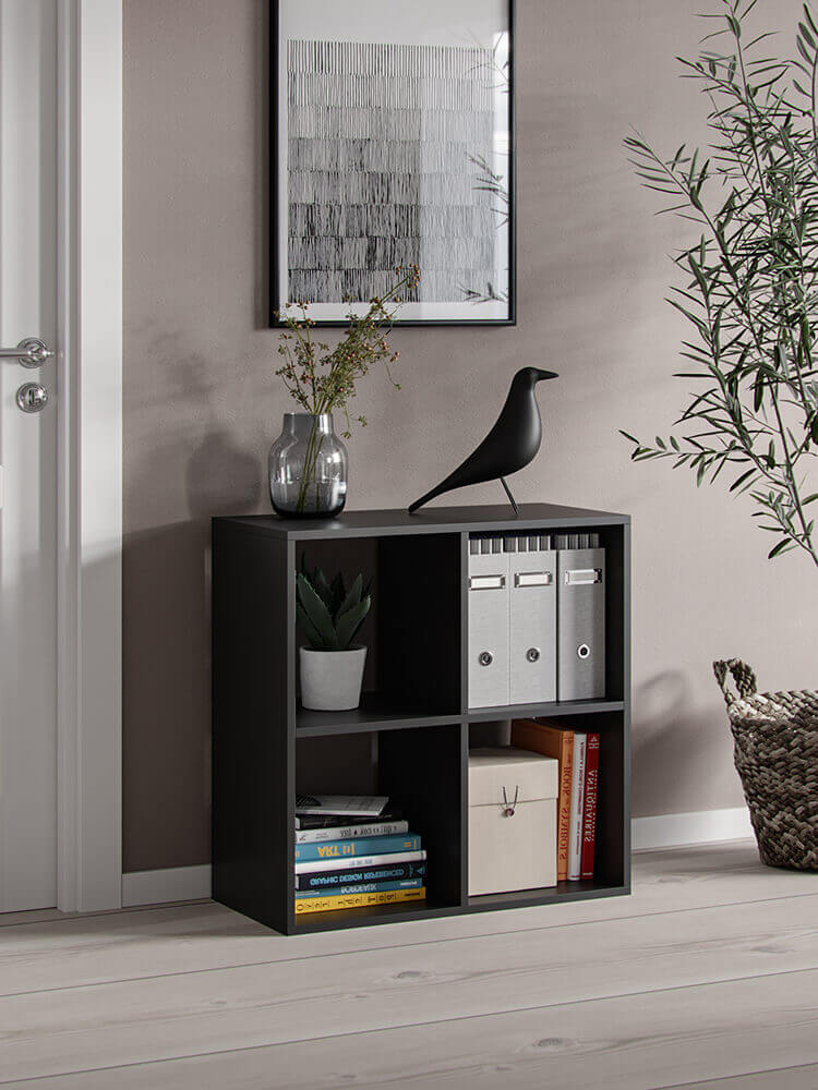 Bookshelf platon 4 open slots black matt