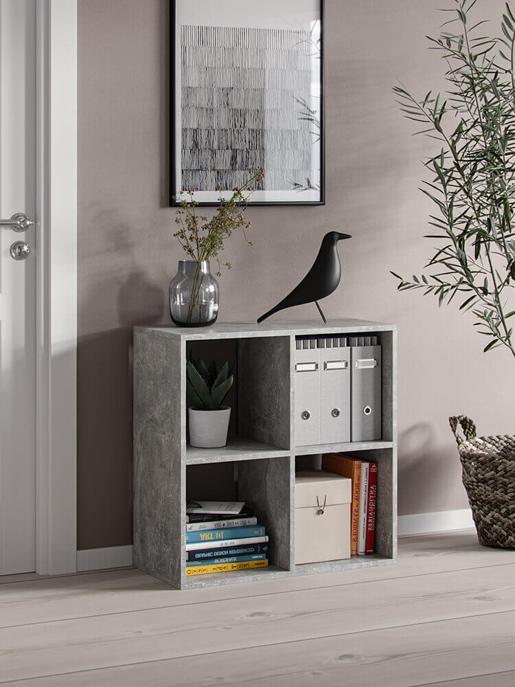 Bookshelf platon 4 open slots grey marble effect