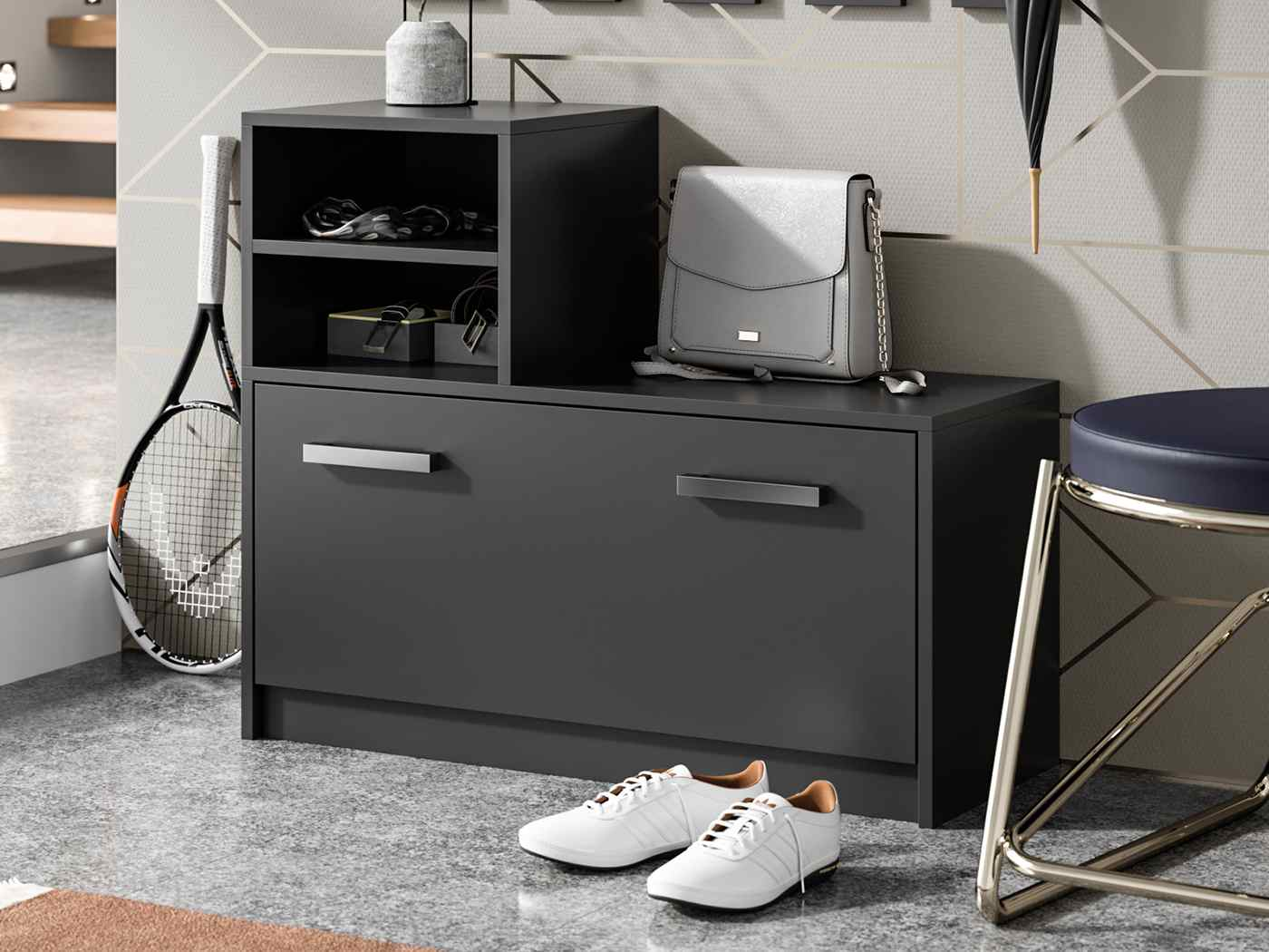 Shoe cabinet Ruby coulour black matte