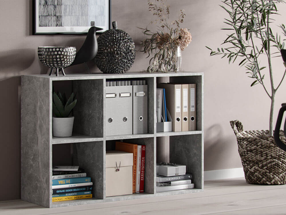 Bookshelf Socrates 6 open slots grey