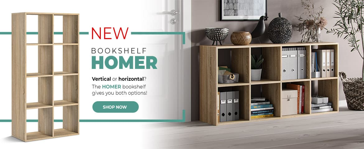 New Bookshelf Homer - 8 open cases - trend-home.co.uk