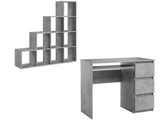 Set: Heini Desk Marble Effect + Pitagoras Bookcase FREE DELIVERY