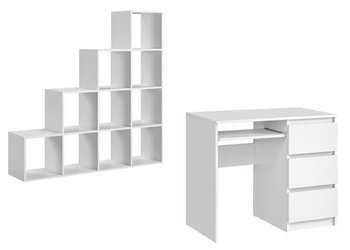 Set: Heini Desk White Matte + Pitagoras Bookcase FREE DELIVERY
