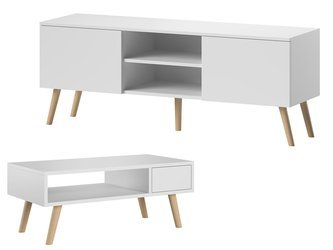 Set:  TV Unit Romeo + Bench Julia White Matte FREE DELIVERY