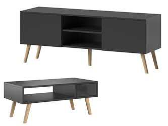 Set: TV Unit Romeo and Bench Julia Black Matte
