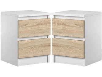 Set of 2 Bedside Cabinet Pari 2 White / White Oak