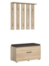 Stone 2-piece Hallway set White Oak with metal hangers and a handle