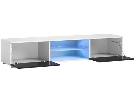 TV Cupboard Bridgette White Black Gloss 140 cm