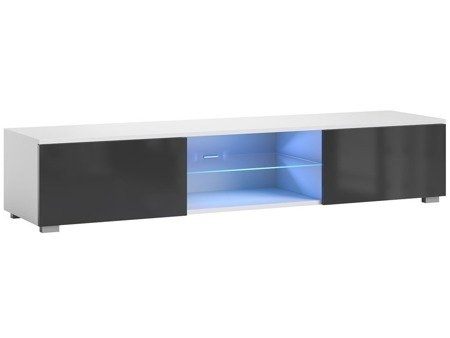 TV Cupboard Bridgette White Black Gloss 140cm