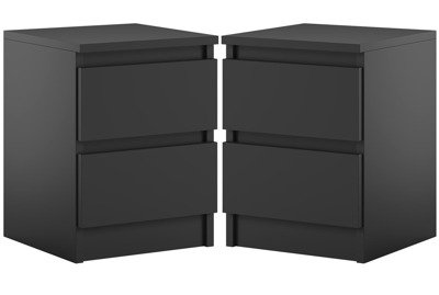 Bedside set of 2 Cabinet Pari 2 Black Matte