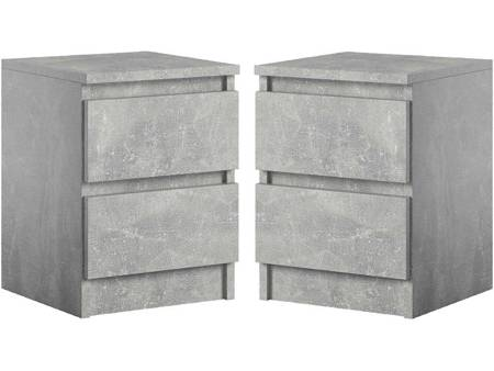 Bedside set of 2 Cabinets Pari 2 Gray with a marble effect