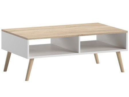 Bonnie coffee table with two storage units & oval legs white with sonoma tabletop