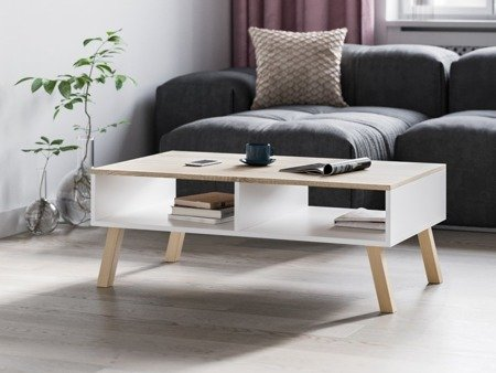 Bonnie coffee table with two storage units & square legs white with sonoma tabletop