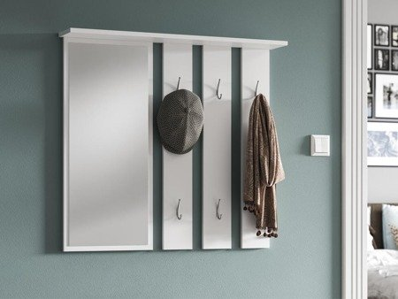 Hallway Wall Hanger with Mirror April White