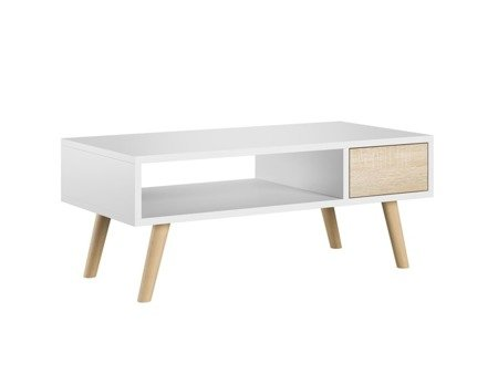 Juliet Coffee Table With a Drawer White Matt with White Oak