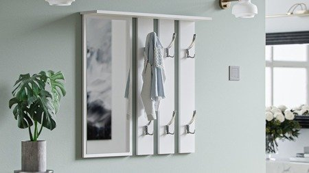 Opal 2-piece hallway set White with metal hangers and a handle