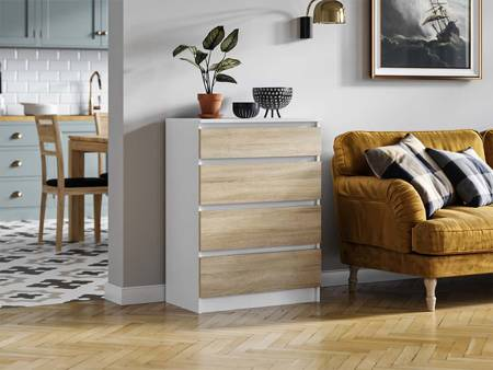 Pari 4  Chest of drawers White with White Oak