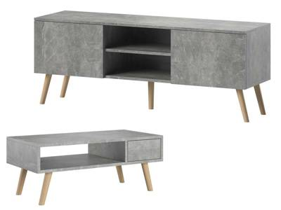 Set: TV Unit Romeo and Bench Julia Marble Effect FREE DELIVERY