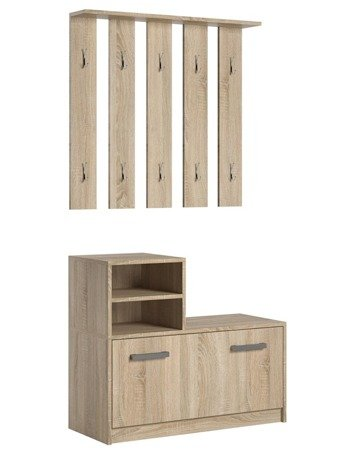 Ruby Hallway Set White oak with metal hangers