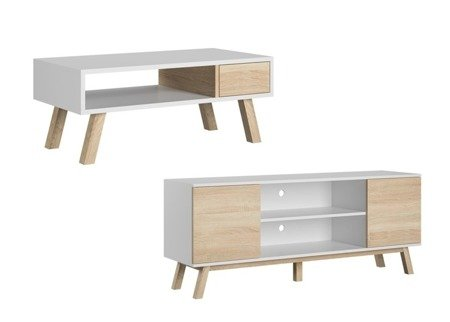 SET: Bench VER + TV Unit  VERO Sonoma White FREE DELIVERY