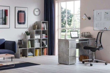 Set: Jaris Desk Marble Effect + Pitagoras Bookcase FREE DELIVERY