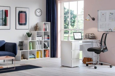 Set: Jaris Desk White Gloss + Pitagoras Bookcase FREE DELIVERY