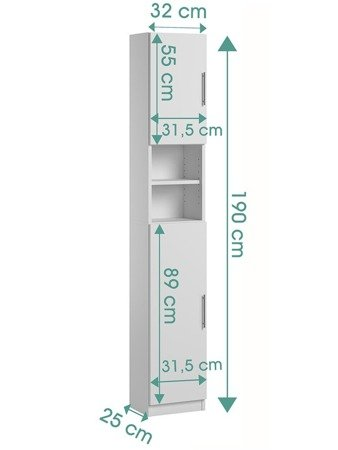Standing Tall Bathroom Cabinet Melody White FREE DELIVERY
