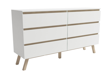 Tinne Double Dresser White Matt & Beech Wood